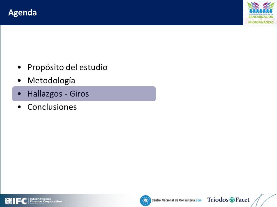 Mobile Financial Services in Colombia Agenda Propósito del estudio Metodología Hallazgos - Giros Conclusiones