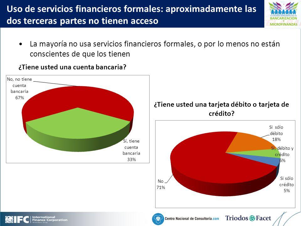 Mobile Financial Services in Colombia Click to edit Master title style 29 La mayoría no usa servicios financieros formales, o por lo menos no están conscientes de que los tienen Uso de servicios financieros formales: aproximadamente las dos terceras partes no tienen acceso ¿Tiene usted una cuenta bancaria.