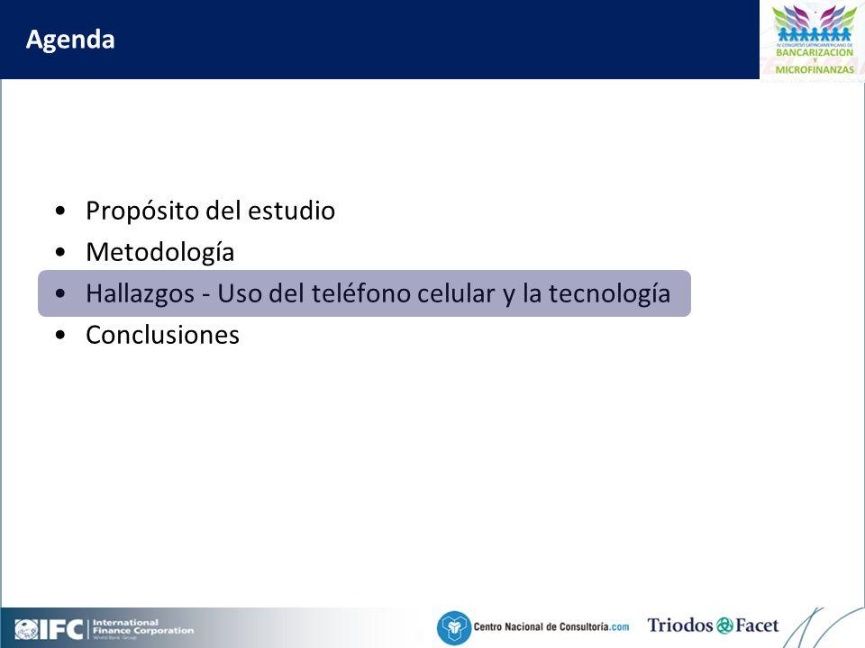 Mobile Financial Services in Colombia Agenda Propósito del estudio Metodología Hallazgos - Uso del teléfono celular y la tecnología Conclusiones