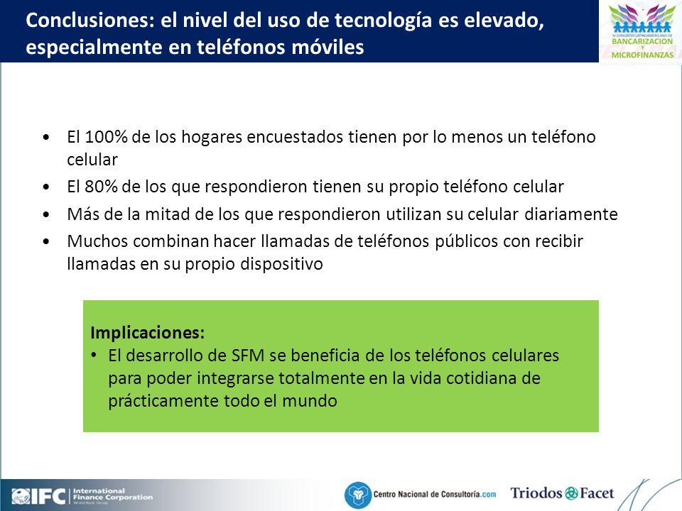 Mobile Financial Services in Colombia Click to edit Master title style 59 El 100% de los hogares encuestados tienen por lo menos un teléfono celular El 80% de los que respondieron tienen su propio teléfono celular Más de la mitad de los que respondieron utilizan su celular diariamente Muchos combinan hacer llamadas de teléfonos públicos con recibir llamadas en su propio dispositivo Conclusiones: el nivel del uso de tecnología es elevado, especialmente en teléfonos móviles Implicaciones: El desarrollo de SFM se beneficia de los teléfonos celulares para poder integrarse totalmente en la vida cotidiana de prácticamente todo el mundo