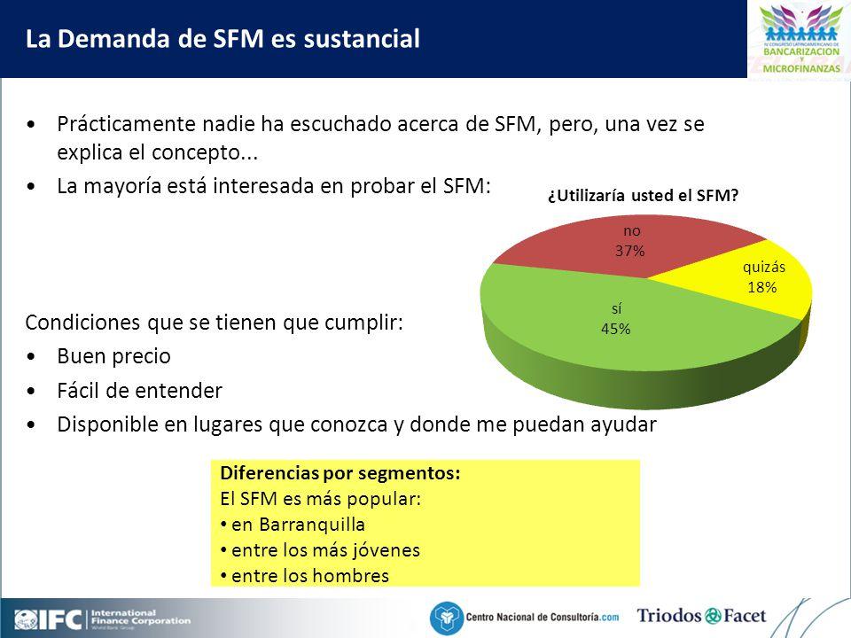 Mobile Financial Services in Colombia La Demanda de SFM es sustancial Prácticamente nadie ha escuchado acerca de SFM, pero, una vez se explica el concepto...