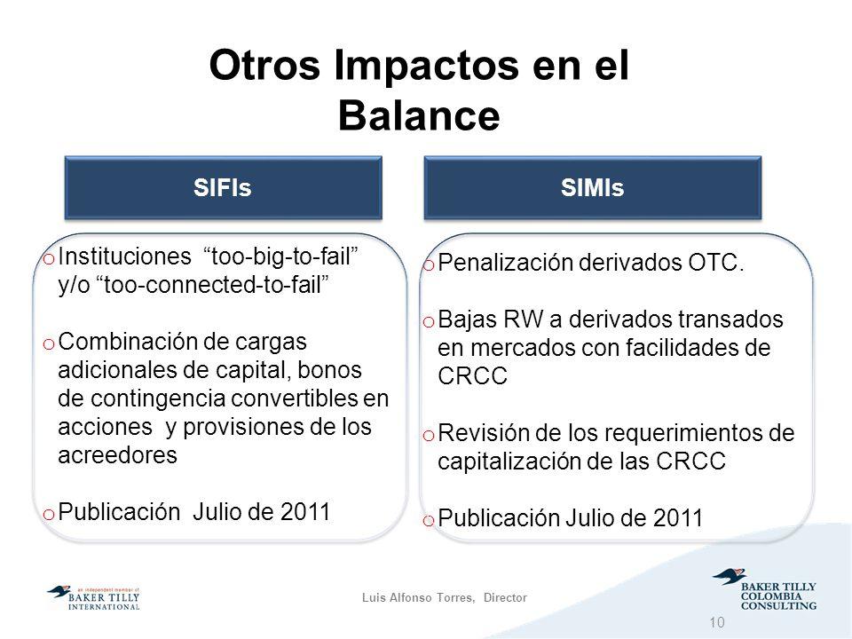 Luis Alfonso Torres, Director Otros Impactos en el Balance SIFIs SIMIs o Instituciones too-big-to-fail y/o too-connected-to-fail o Combinación de cargas adicionales de capital, bonos de contingencia convertibles en acciones y provisiones de los acreedores o Publicación Julio de 2011 o Penalización derivados OTC.