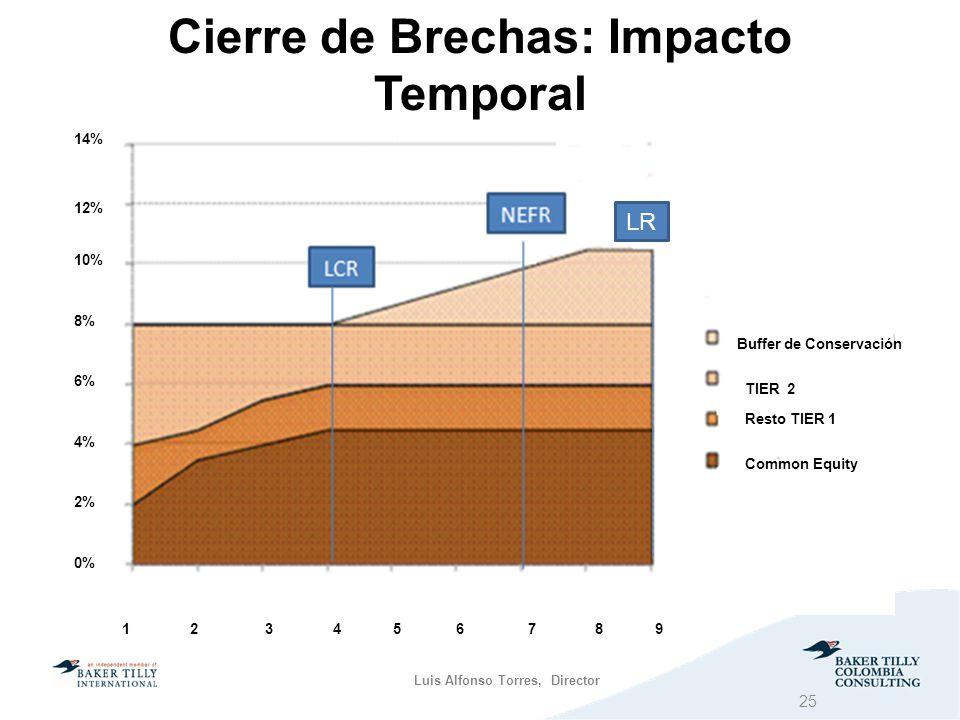 Luis Alfonso Torres, Director Cierre de Brechas: Impacto Temporal LCR NEF R Buffer de Conservación TIER 2 Common Equity Resto TIER 1 1 2 3 4 5 6 7 8 9 LR 0% 2% 4% 6% 8% 10% 12% 14% 25