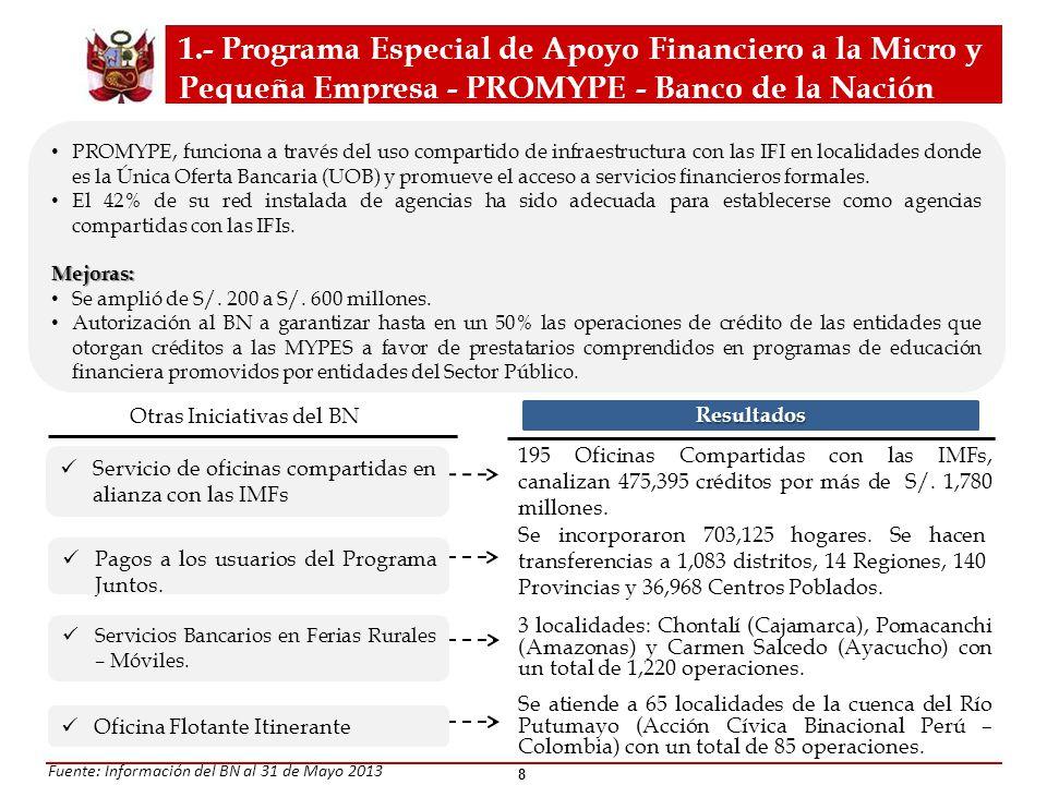 PROMYPE, funciona a través del uso compartido de infraestructura con las IFI en localidades donde es la Única Oferta Bancaria (UOB) y promueve el acce