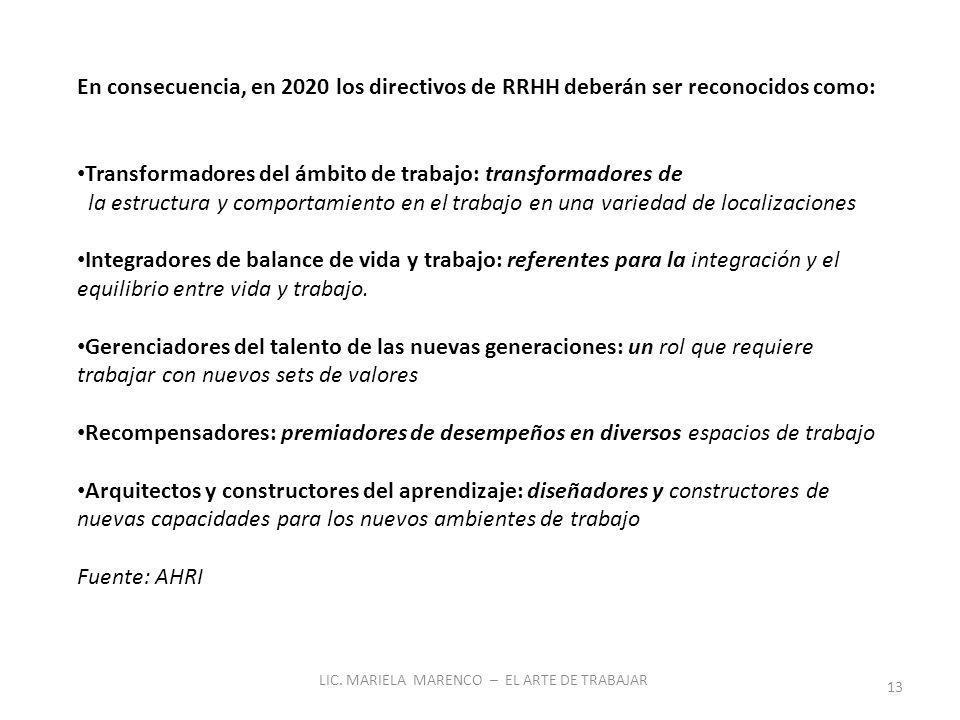 LIC. MARIELA MARENCO – EL ARTE DE TRABAJAR 13 En consecuencia, en 2020 los directivos de RRHH deberán ser reconocidos como: Transformadores del ámbito