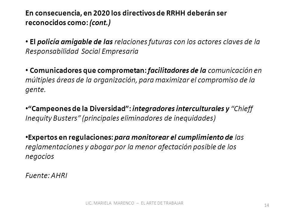 LIC. MARIELA MARENCO – EL ARTE DE TRABAJAR 14 En consecuencia, en 2020 los directivos de RRHH deberán ser reconocidos como: (cont.) El policía amigabl