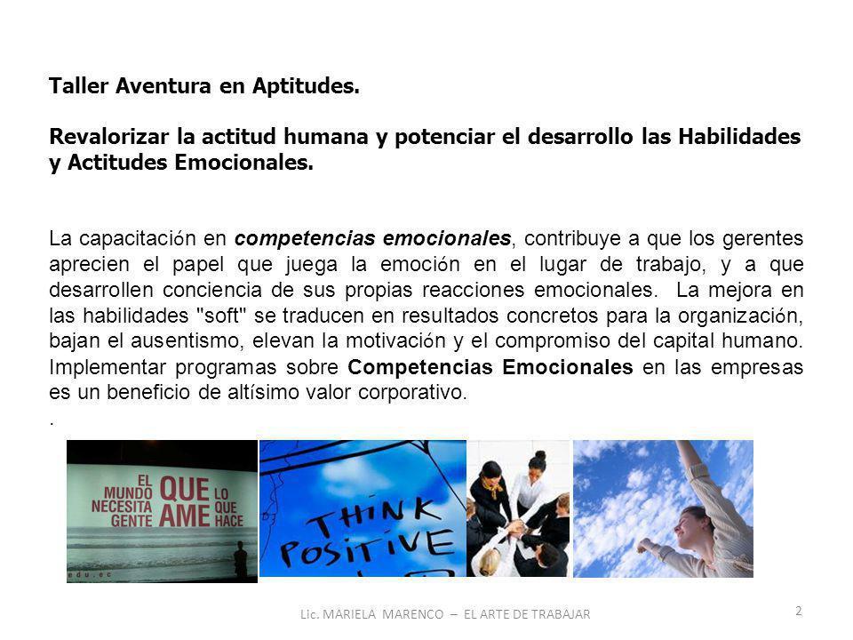 2 Lic. MARIELA MARENCO – EL ARTE DE TRABAJAR Taller Aventura en Aptitudes.