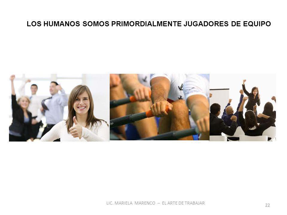 LOS HUMANOS SOMOS PRIMORDIALMENTE JUGADORES DE EQUIPO 22 LIC. MARIELA MARENCO – EL ARTE DE TRABAJAR