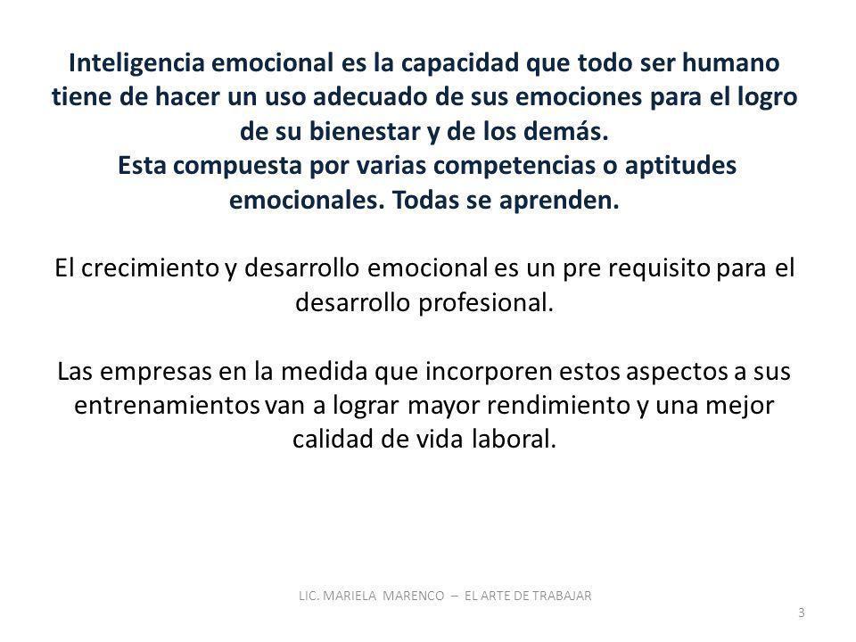 Inteligencia emocional es la capacidad que todo ser humano tiene de hacer un uso adecuado de sus emociones para el logro de su bienestar y de los demás.