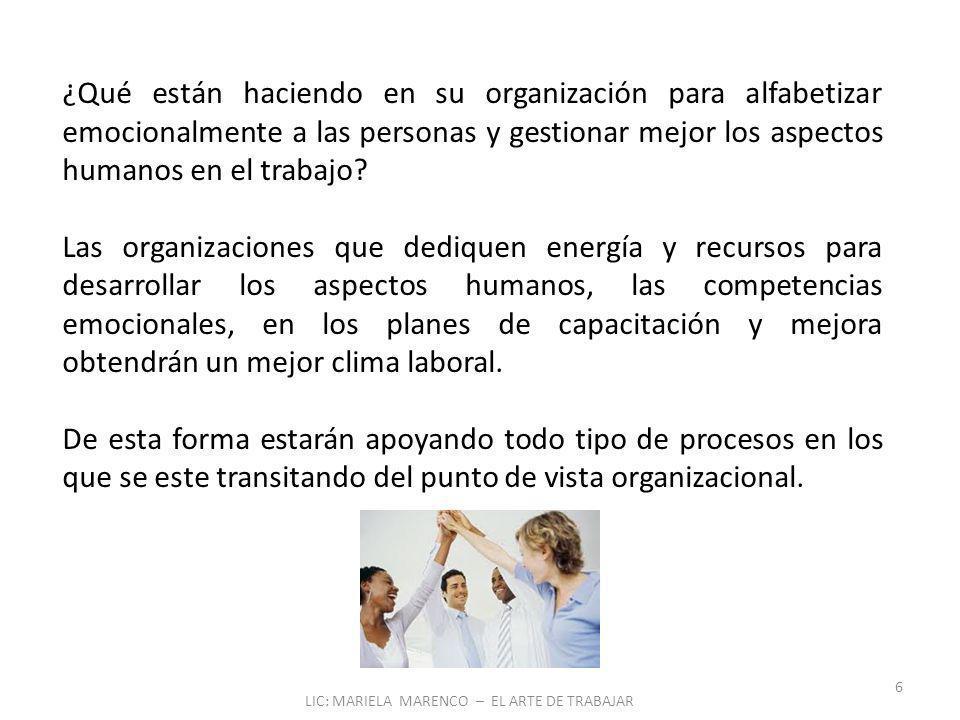 LIC: MARIELA MARENCO – EL ARTE DE TRABAJAR 6 ¿Qué están haciendo en su organización para alfabetizar emocionalmente a las personas y gestionar mejor los aspectos humanos en el trabajo.