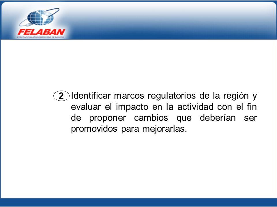 2 Identificar marcos regulatorios de la región y evaluar el impacto en la actividad con el fin de proponer cambios que deberían ser promovidos para me
