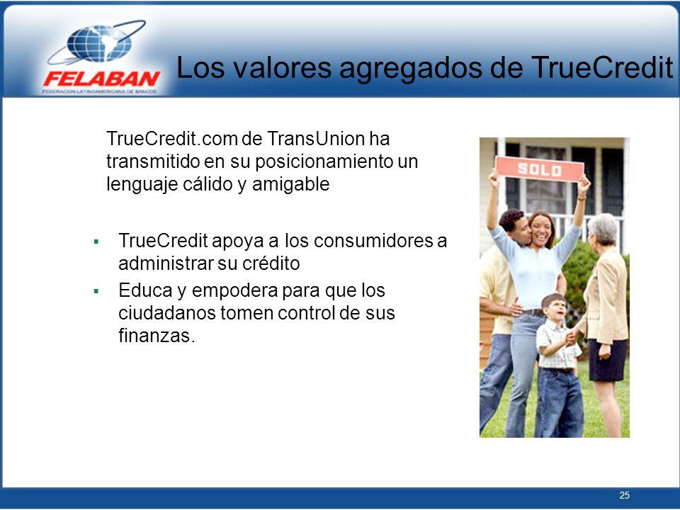 25 TrueCredit apoya a los consumidores a administrar su crédito Educa y empodera para que los ciudadanos tomen control de sus finanzas. TrueCredit.com