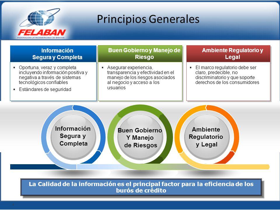 Principios Generales Información Segura y Completa Información Segura y Completa Oportuna, veraz y completa incluyendo información positiva y negativa
