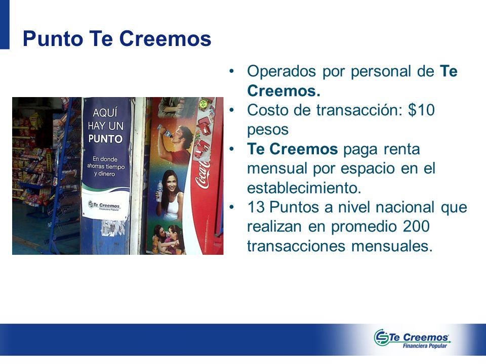 Operados por personal de Te Creemos. Costo de transacción: $10 pesos Te Creemos paga renta mensual por espacio en el establecimiento. 13 Puntos a nive