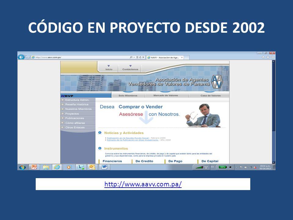 CÓDIGO EN PROYECTO DESDE 2002 http://www.aavv.com.pa/