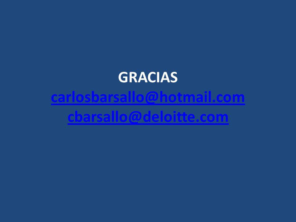 GRACIAS carlosbarsallo@hotmail.com cbarsallo@deloitte.com carlosbarsallo@hotmail.com cbarsallo@deloitte.com