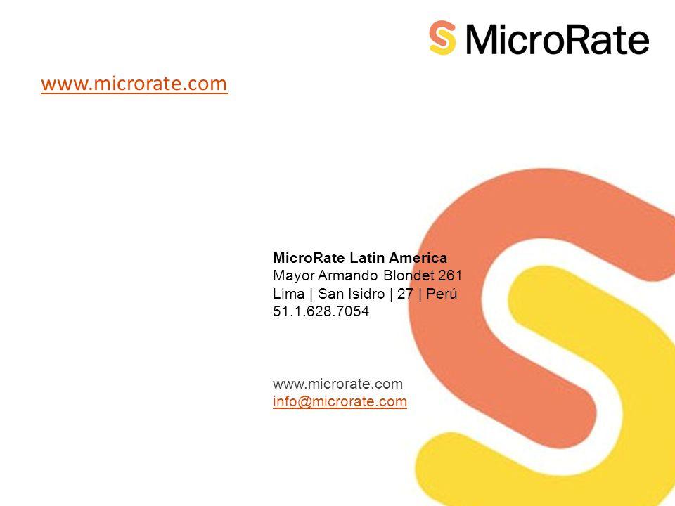 MicroRate Latin America Mayor Armando Blondet 261 Lima | San Isidro | 27 | Perú 51.1.628.7054 www.microrate.com info@microrate.com www.microrate.com