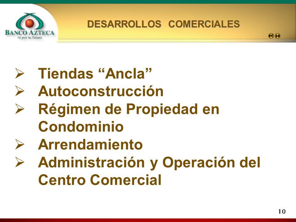 10 Tiendas Ancla Autoconstrucción Régimen de Propiedad en Condominio Arrendamiento Administración y Operación del Centro Comercial DESARROLLOS COMERCIALES
