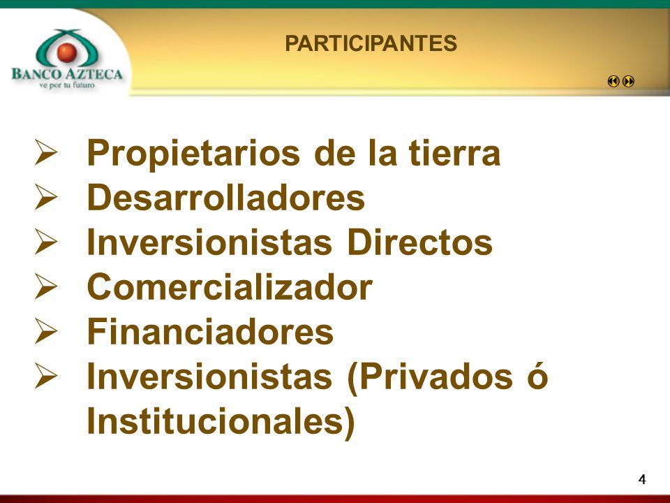 4 Propietarios de la tierra Desarrolladores Inversionistas Directos Comercializador Financiadores Inversionistas (Privados ó Institucionales) PARTICIPANTES