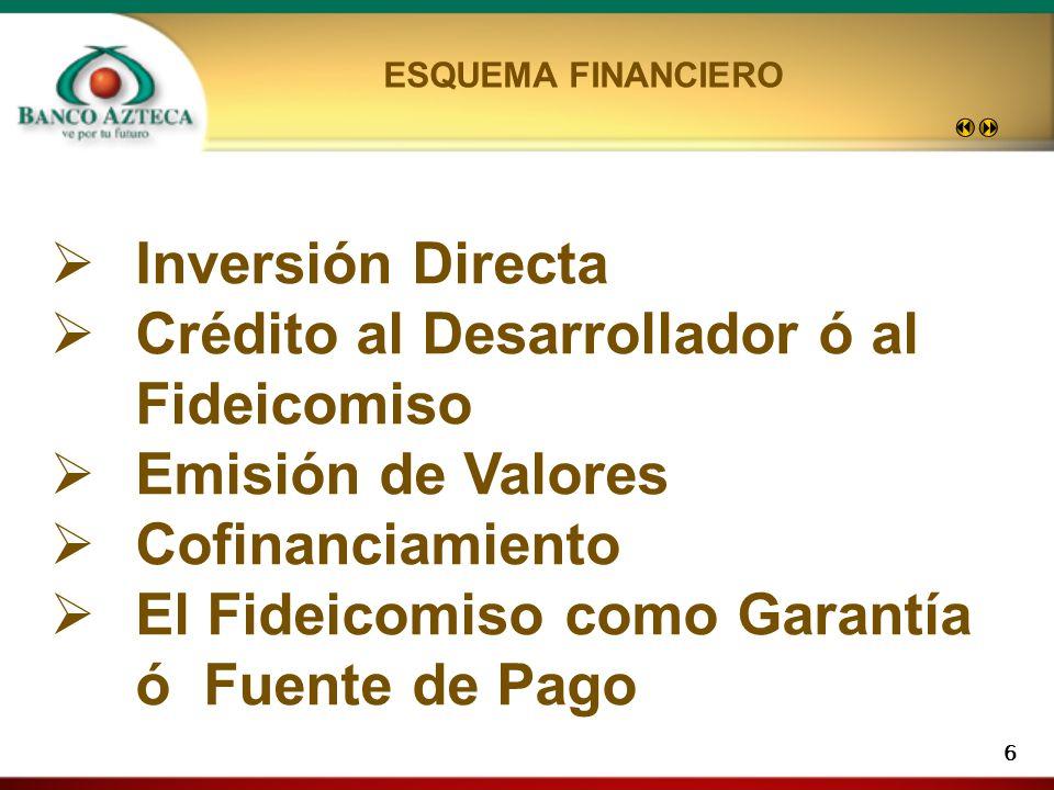 6 Inversión Directa Crédito al Desarrollador ó al Fideicomiso Emisión de Valores Cofinanciamiento El Fideicomiso como Garantía ó Fuente de Pago ESQUEMA FINANCIERO