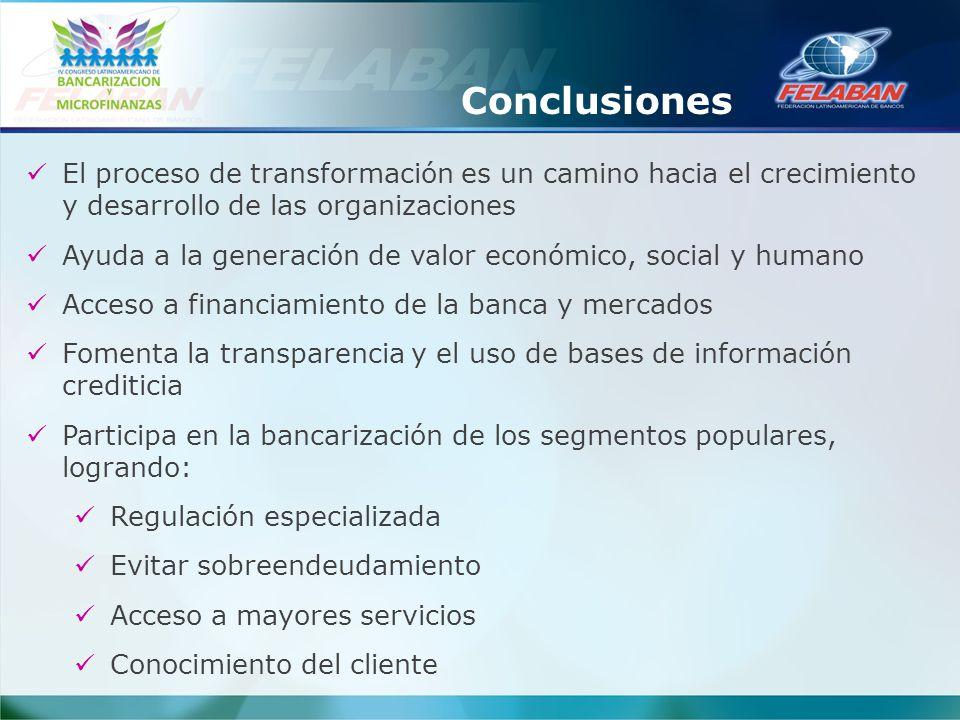 Conclusiones El proceso de transformación es un camino hacia el crecimiento y desarrollo de las organizaciones Ayuda a la generación de valor económic