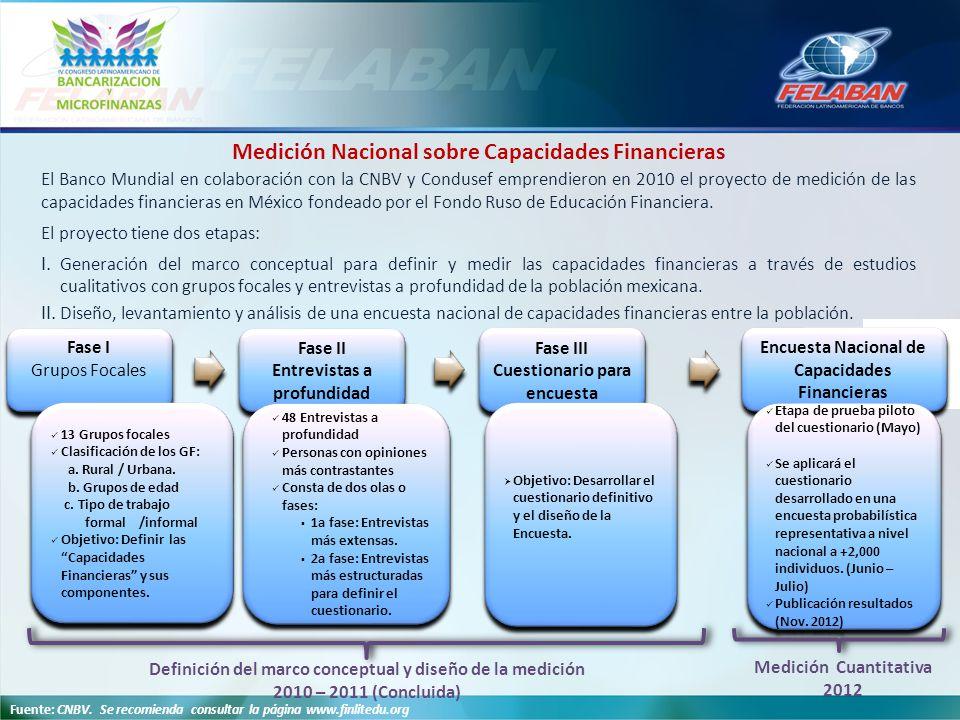 Fuente: CNBV. Se recomienda consultar la página www.finlitedu.org Encuesta Nacional de Capacidades Financieras Fase II Entrevistas a profundidad Fase
