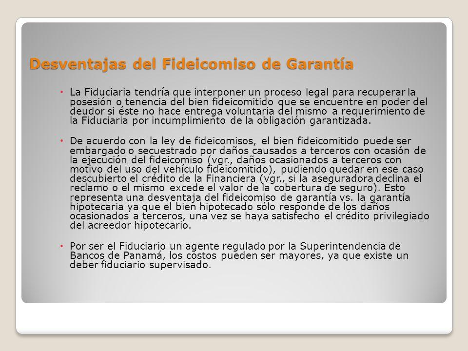 Desventajas del Fideicomiso de Garantía La Fiduciaria tendría que interponer un proceso legal para recuperar la posesión o tenencia del bien fideicomi