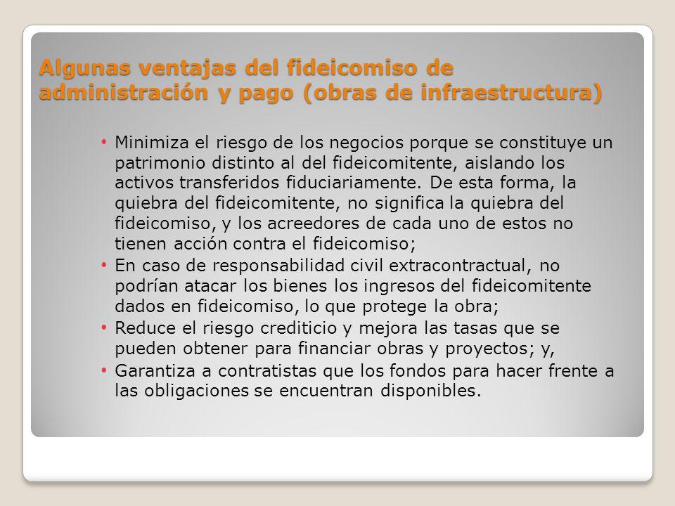Algunas ventajas del fideicomiso de administración y pago (obras de infraestructura) Minimiza el riesgo de los negocios porque se constituye un patrim