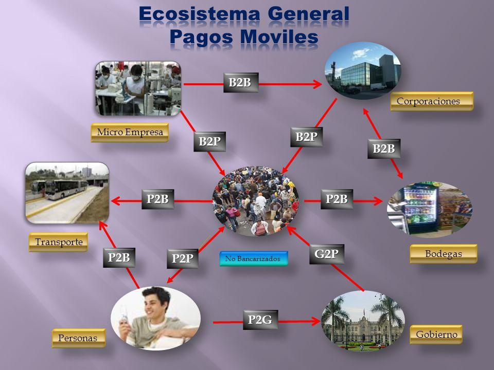 No Bancarizados Personas Corporaciones Bodegas Gobierno Transporte Micro Empresa P2P B2B P2G P2B G2P P2B B2B B2P B2P P2B