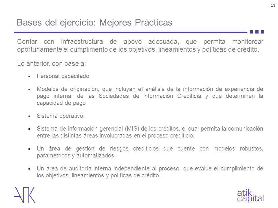 Bases del ejercicio: Mejores Prácticas 11 Contar con infraestructura de apoyo adecuada, que permita monitorear oportunamente el cumplimento de los obj