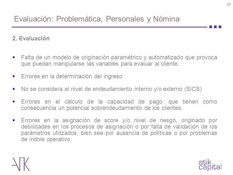 Evaluación: Problemática, Personales y Nómina 2. Evaluación Falta de un modelo de originación paramétrico y automatizado que provoca que puedan manipu