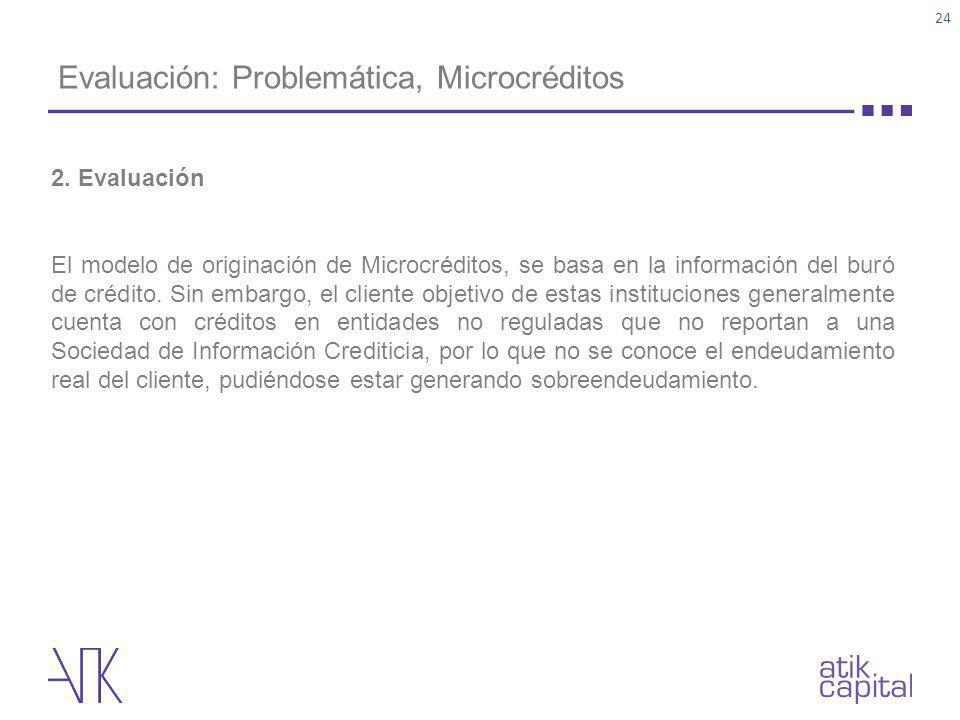Evaluación: Problemática, Microcréditos 2. Evaluación El modelo de originación de Microcréditos, se basa en la información del buró de crédito. Sin em