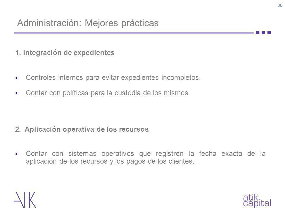 Administración: Mejores prácticas 1. Integración de expedientes Controles internos para evitar expedientes incompletos. Contar con políticas para la c
