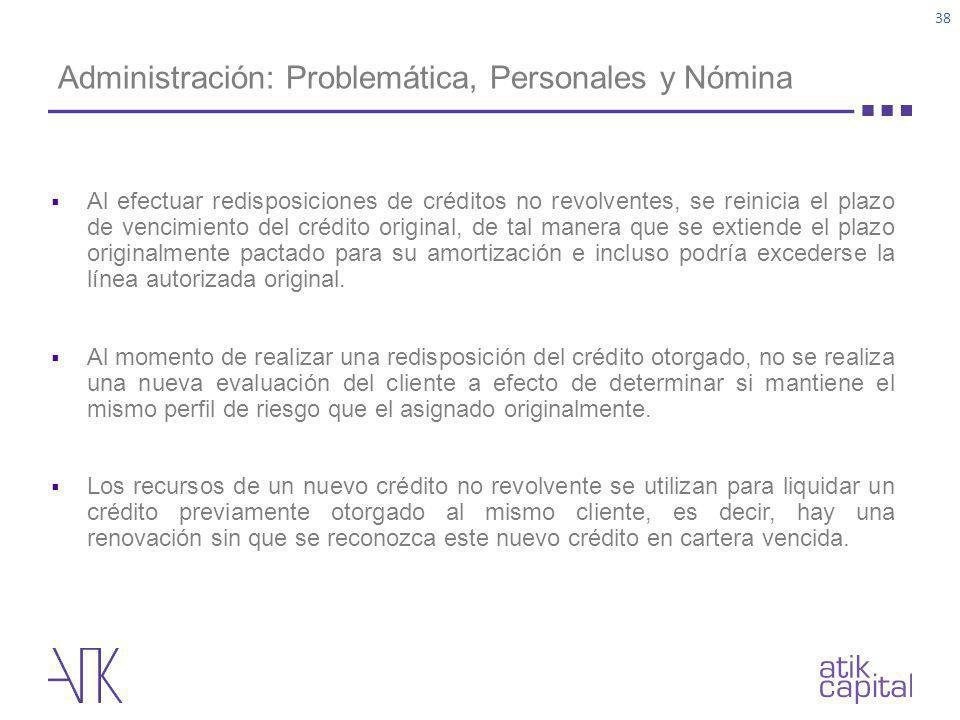 Administración: Problemática, Personales y Nómina Al efectuar redisposiciones de créditos no revolventes, se reinicia el plazo de vencimiento del créd