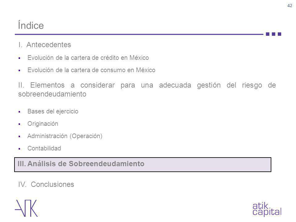 Índice Evolución de la cartera de crédito en México Evolución de la cartera de consumo en México II. Elementos a considerar para una adecuada gestión