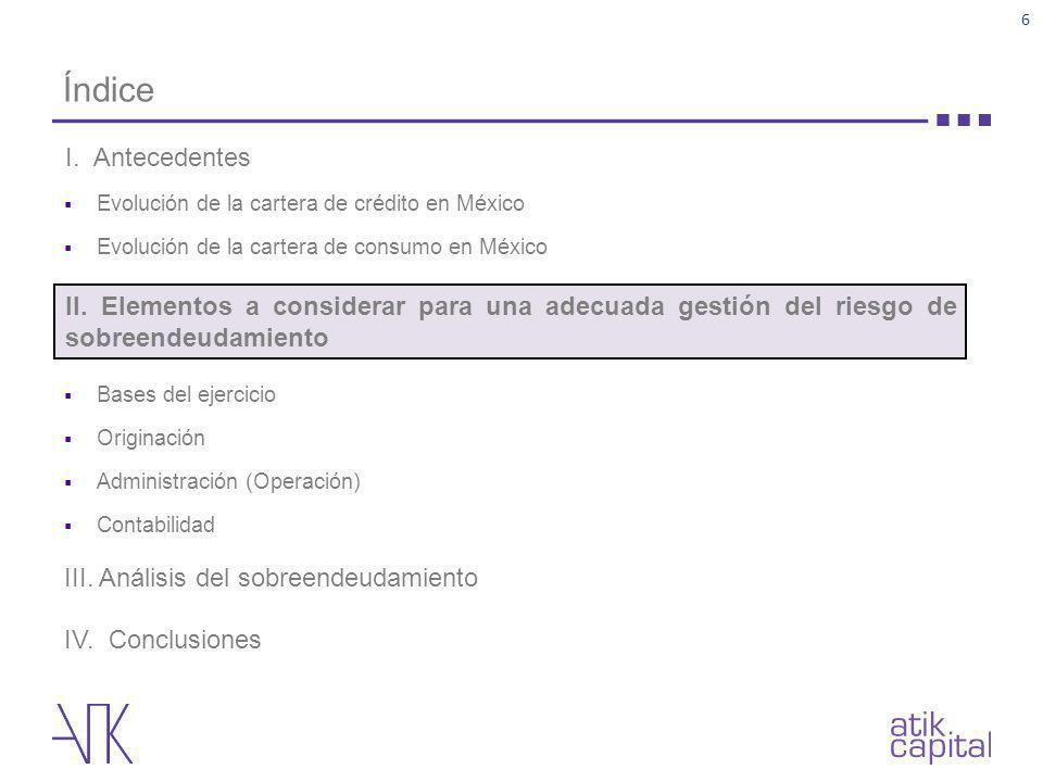 Índice Evolución de la cartera de crédito en México Evolución de la cartera de consumo en México Bases del ejercicio Originación Administración (Opera