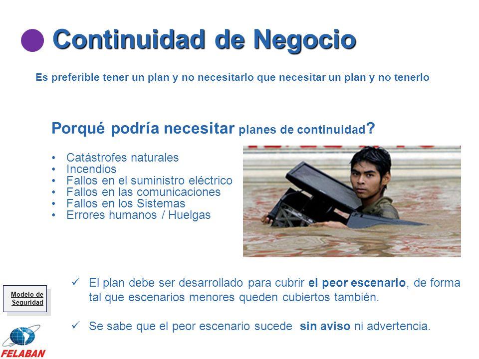 Continuidad de Negocio Es preferible tener un plan y no necesitarlo que necesitar un plan y no tenerlo Porqué podría necesitar planes de continuidad ?