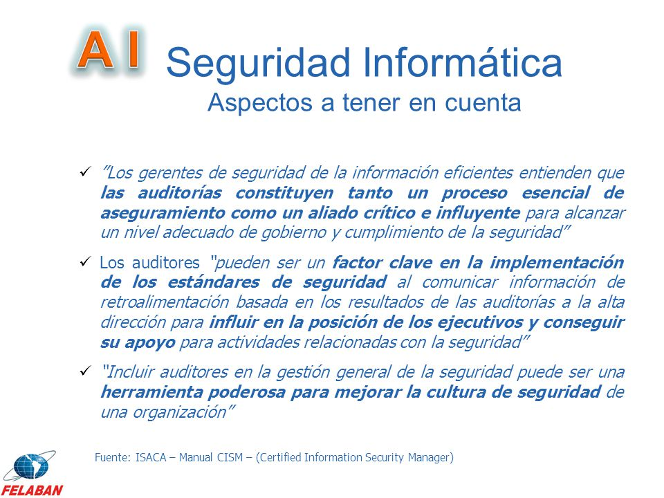 Los gerentes de seguridad de la información eficientes entienden que las auditorías constituyen tanto un proceso esencial de aseguramiento como un ali