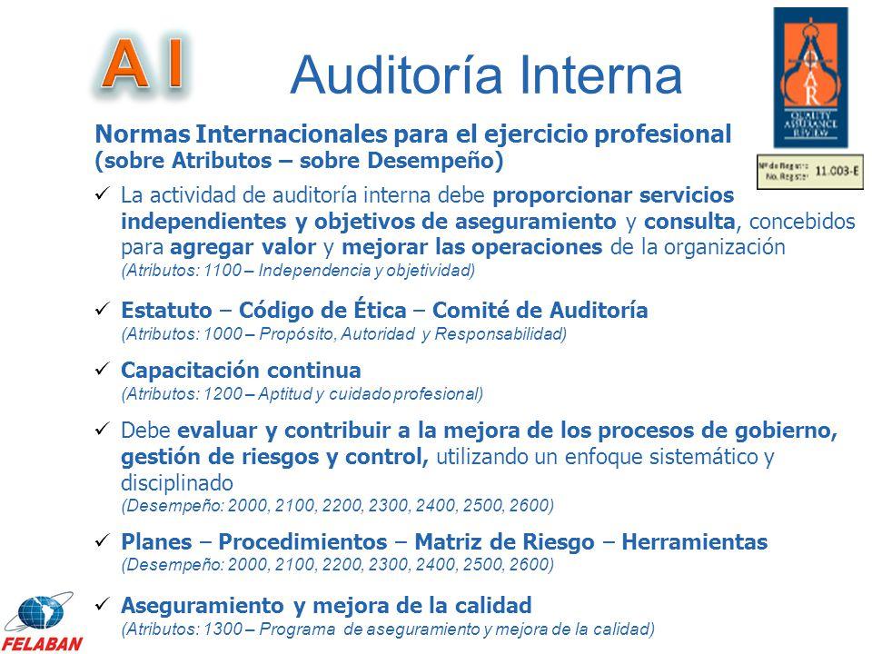 Auditoría Interna La actividad de auditoría interna debe proporcionar servicios independientes y objetivos de aseguramiento y consulta, concebidos par