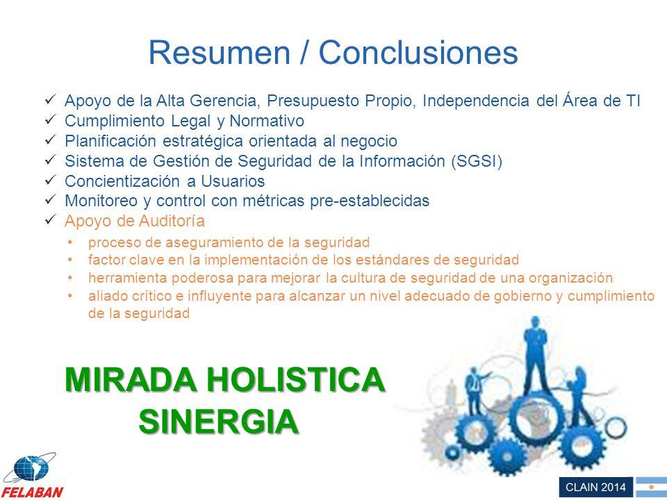 Resumen / Conclusiones SINERGIA Apoyo de la Alta Gerencia, Presupuesto Propio, Independencia del Área de TI Cumplimiento Legal y Normativo Planificaci