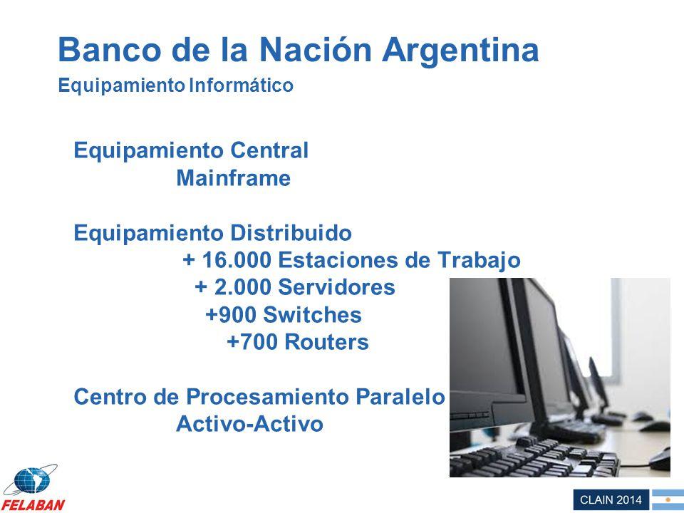 Banco de la Nación Argentina Equipamiento Central Mainframe Equipamiento Distribuido + 16.000 Estaciones de Trabajo + 2.000 Servidores +900 Switches +