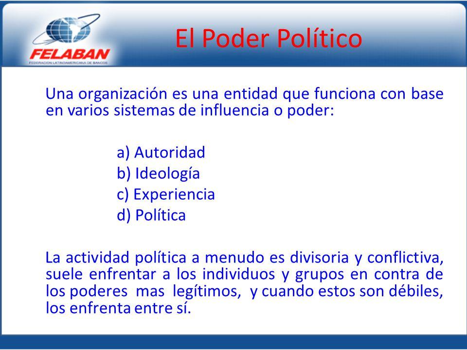 Una organización es una entidad que funciona con base en varios sistemas de influencia o poder: a) Autoridad b) Ideología c) Experiencia d) Política L