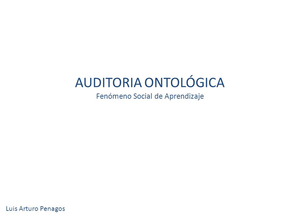 AUDITORIA ONTOLÓGICA Fenómeno Social de Aprendizaje Luis Arturo Penagos