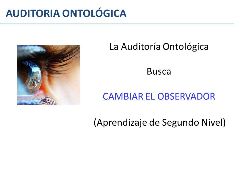 AUDITORIA ONTOLÓGICA La Auditoría Ontológica Busca CAMBIAR EL OBSERVADOR (Aprendizaje de Segundo Nivel)