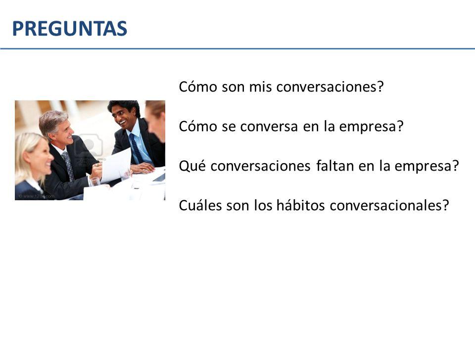 PREGUNTAS Cómo son mis conversaciones? Cómo se conversa en la empresa? Qué conversaciones faltan en la empresa? Cuáles son los hábitos conversacionale