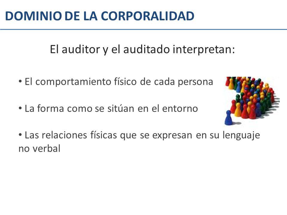 DOMINIO DE LA CORPORALIDAD El auditor y el auditado interpretan: El comportamiento físico de cada persona La forma como se sitúan en el entorno Las re