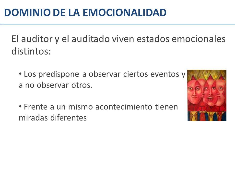 DOMINIO DE LA EMOCIONALIDAD El auditor y el auditado viven estados emocionales distintos: Los predispone a observar ciertos eventos y a no observar ot