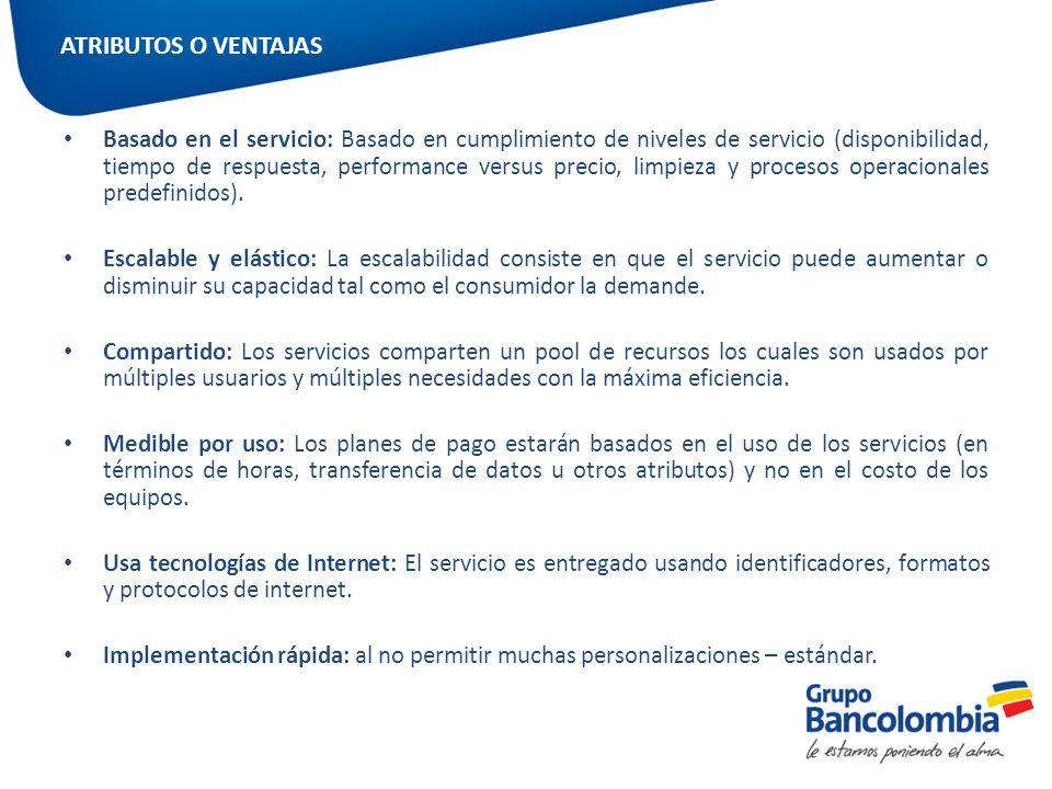Basado en el servicio: Basado en cumplimiento de niveles de servicio (disponibilidad, tiempo de respuesta, performance versus precio, limpieza y proce