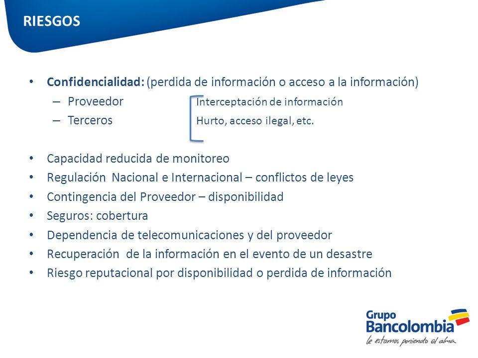 Confidencialidad: (perdida de información o acceso a la información) – Proveedor Interceptación de información – Terceros Hurto, acceso ilegal, etc. C