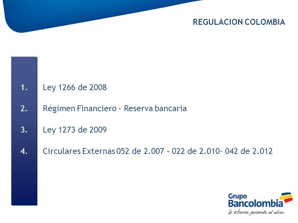 1.Ley 1266 de 2008 2.Régimen Financiero – Reserva bancaria 3.Ley 1273 de 2009 4.Circulares Externas 052 de 2.007 – 022 de 2.010- 042 de 2.012 REGULACI